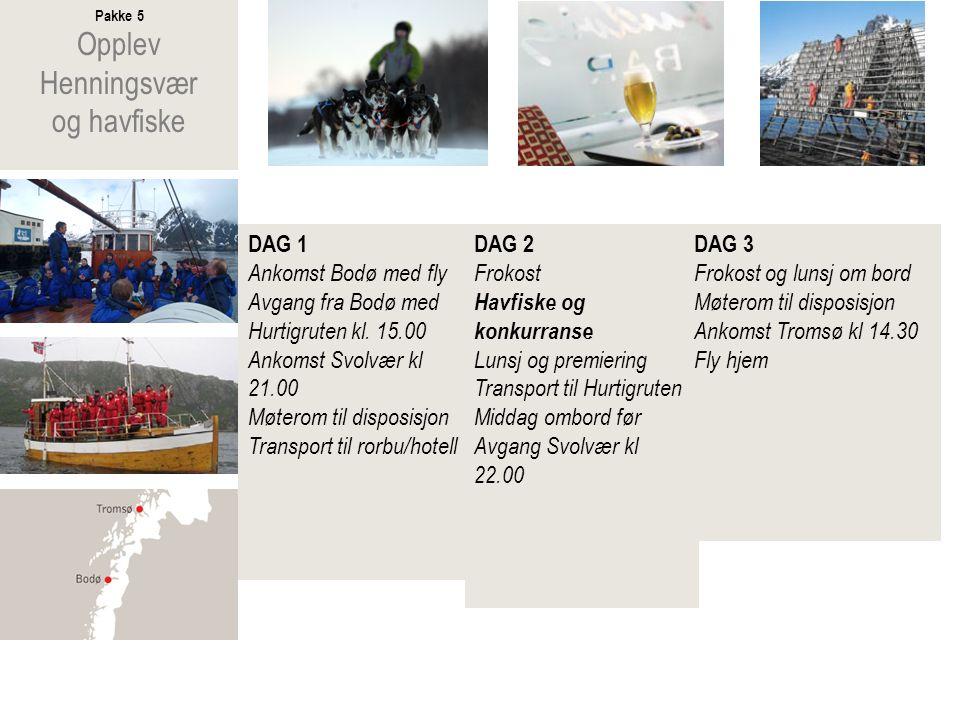 Pakke 6 Opplev Tysfjord og spekkhoggere DAG 1 Ankomst Bodø med fly Lunsj om bord Avgang fra Bodø med Hurtigruten kl.