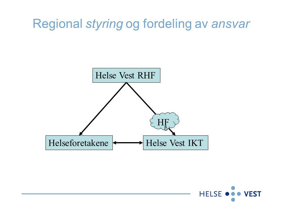 Regional styring og fordeling av ansvar Helse Vest RHF HelseforetakeneHelse Vest IKT HF