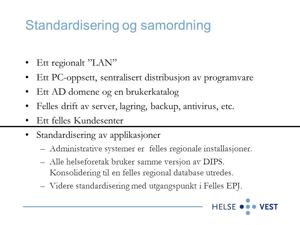 Standardisering og samordning Ett regionalt LAN Ett PC-oppsett, sentralisert distribusjon av programvare Ett AD domene og en brukerkatalog Felles drift av server, lagring, backup, antivirus, etc.