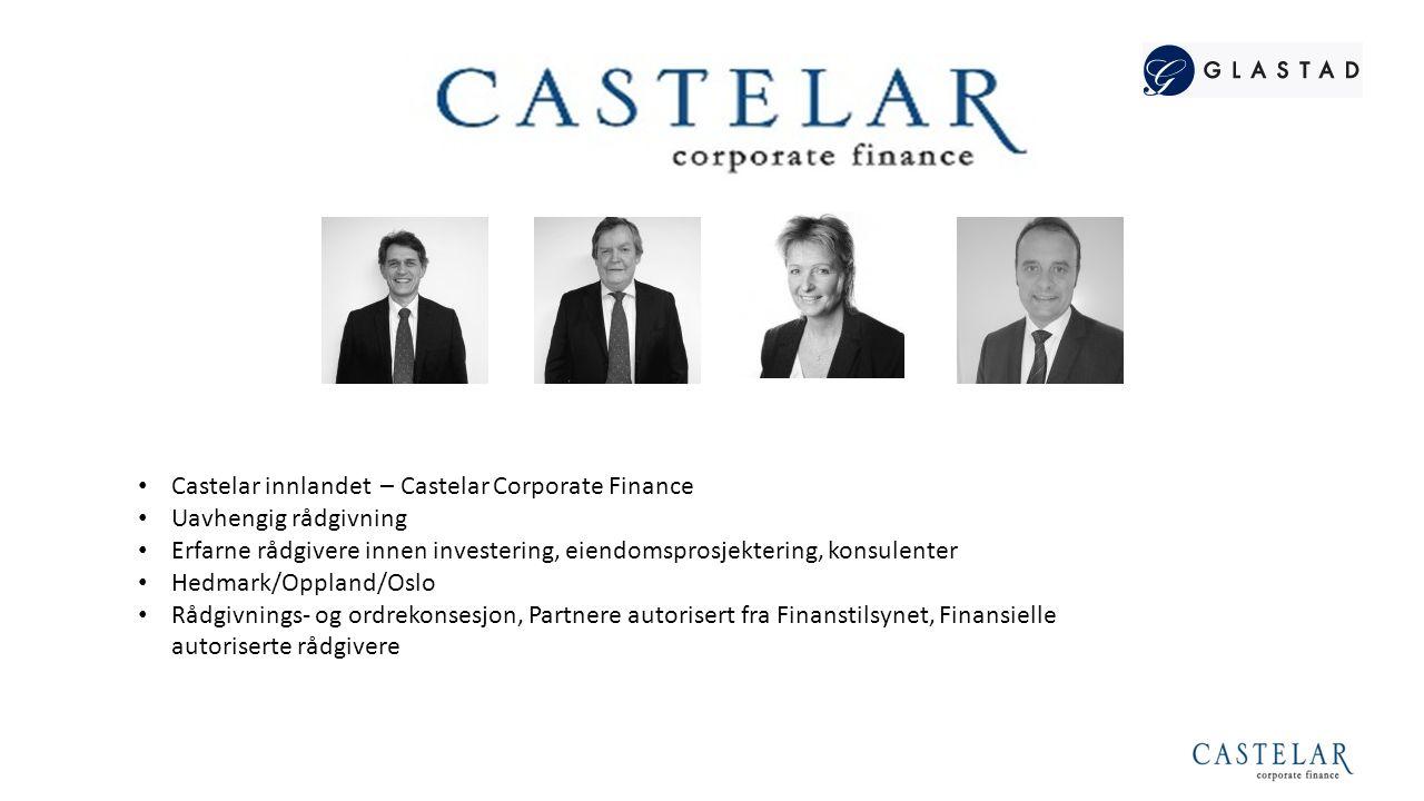 Castelarsystemet har vesentlig ekspertise innen eiendom og forvaltning 4  Castelar er en del av Glastadsfæren, som over lengere tid har hatt vesentlige eierinteresser innenfor eiendom.
