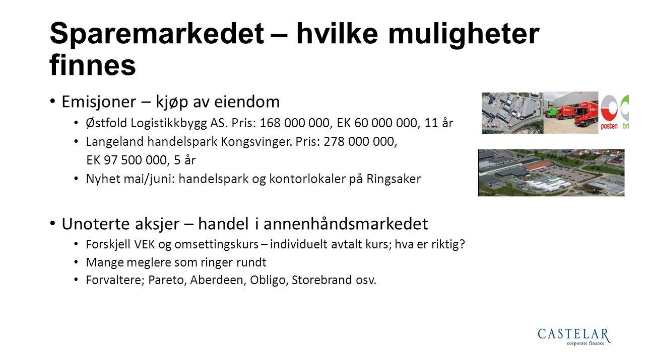 Sparemarkedet – hvilke muligheter finnes Emisjoner – kjøp av eiendom Østfold Logistikkbygg AS. Pris: 168 000 000, EK 60 000 000, 11 år Langeland hande