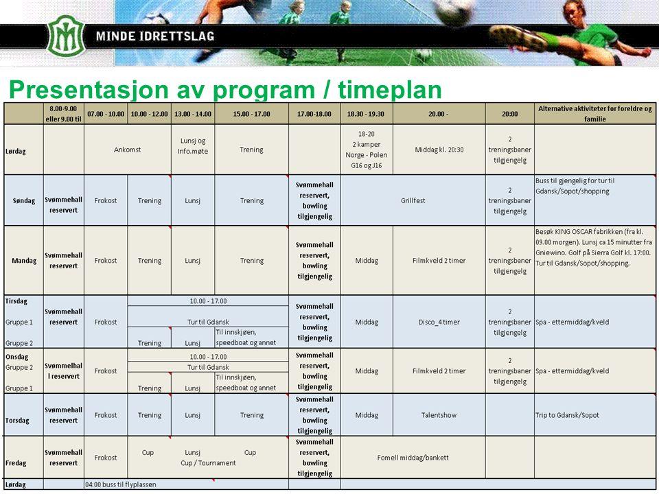 Presentasjon av program / timeplan