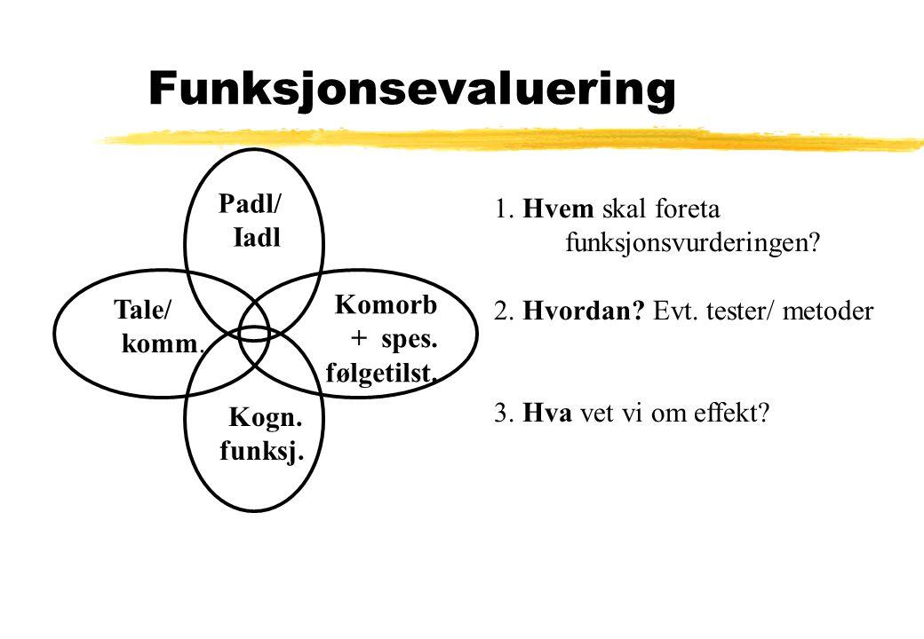 Funksjonsevaluering Padl/ Iadl Tale/ komm. Komorb + spes. følgetilst. Kogn. funksj. 1. Hvem skal foreta funksjonsvurderingen? 2. Hvordan? Evt. tester/
