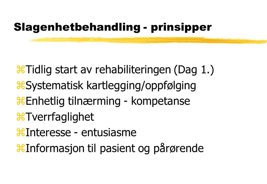 Slagenhetbehandling - prinsipper zTidlig start av rehabiliteringen (Dag 1.) zSystematisk kartlegging/oppfølging zEnhetlig tilnærming - kompetanse zTve