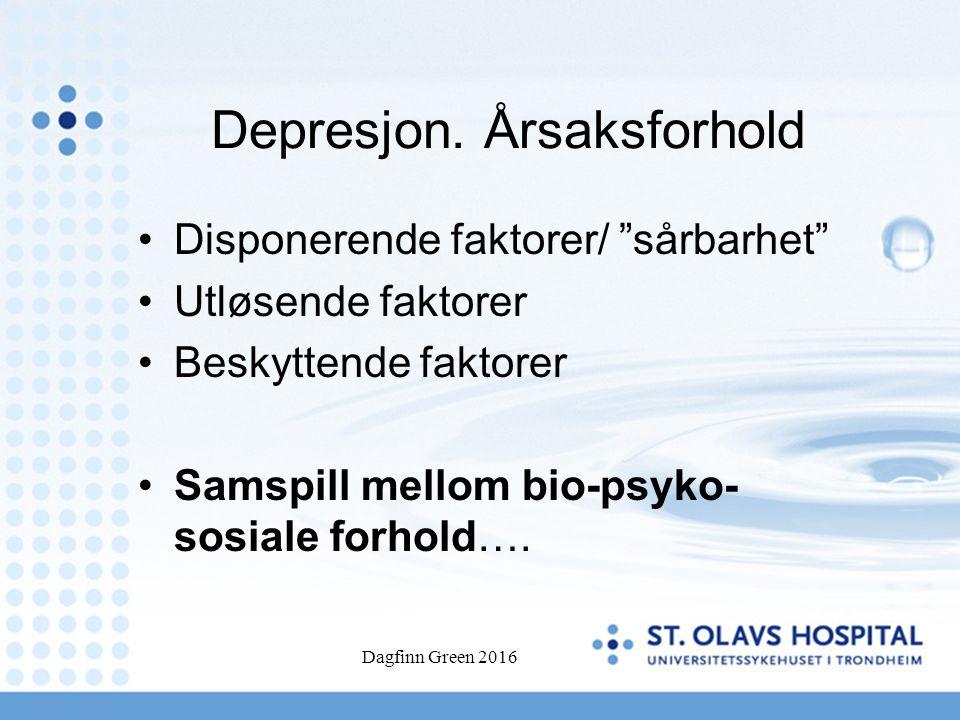 """Depresjon. Årsaksforhold Disponerende faktorer/ """"sårbarhet"""" Utløsende faktorer Beskyttende faktorer Samspill mellom bio-psyko- sosiale forhold…."""