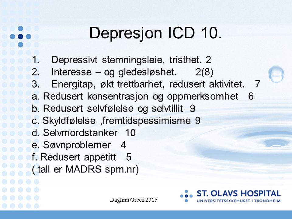 Dagfinn Green 2016 Depresjon ICD 10. 1.Depressivt stemningsleie, tristhet. 2 2.Interesse – og gledesløshet. 2(8) 3.Energitap, økt trettbarhet, reduser