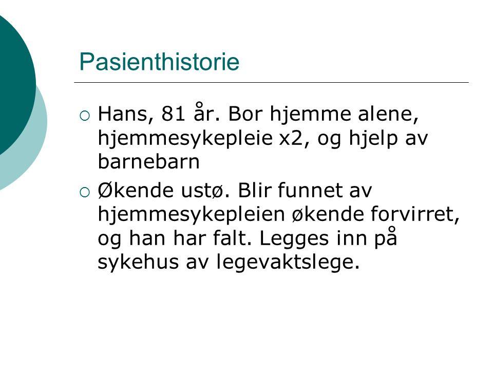 Pasienthistorie  Hans, 81 år.