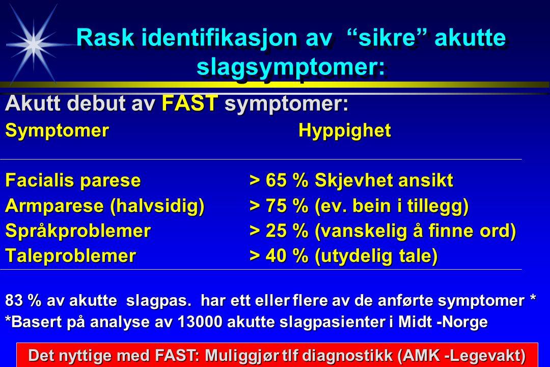 Rask identifikasjon av sikre akutte slagsymptomer: Akutt debut av FAST symptomer: SymptomerHyppighet Facialis parese > 65 % Skjevhet ansikt Armparese (halvsidig)> 75 % (ev.