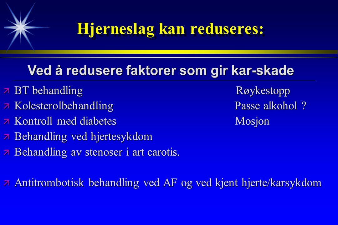 Hjerneslag kan reduseres: ä BT behandling Røykestopp ä Kolesterolbehandling Passe alkohol ? ä Kontroll med diabetes Mosjon ä Behandling ved hjertesykd
