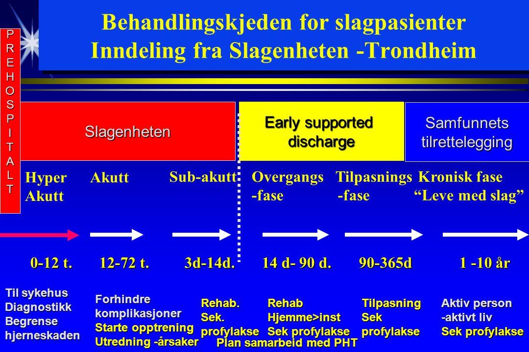 Behandlingskjeden for slagpasienter Inndeling fra Slagenheten -Trondheim 0-12 t.