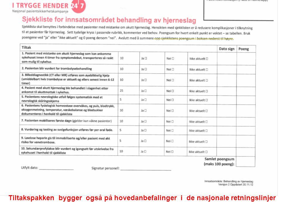 Tiltakspakken bygger også på hovedanbefalinger i de nasjonale retningslinjer