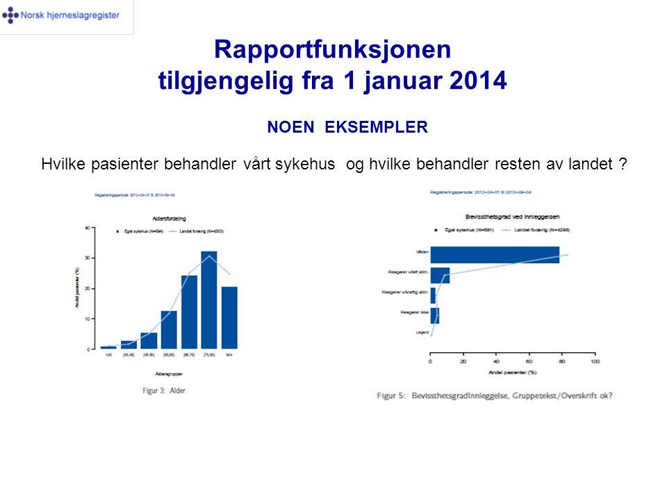 Rapportfunksjonen tilgjengelig fra 1 januar 2014 NOEN EKSEMPLER Hvilke pasienter behandler vårt sykehus og hvilke behandler resten av landet