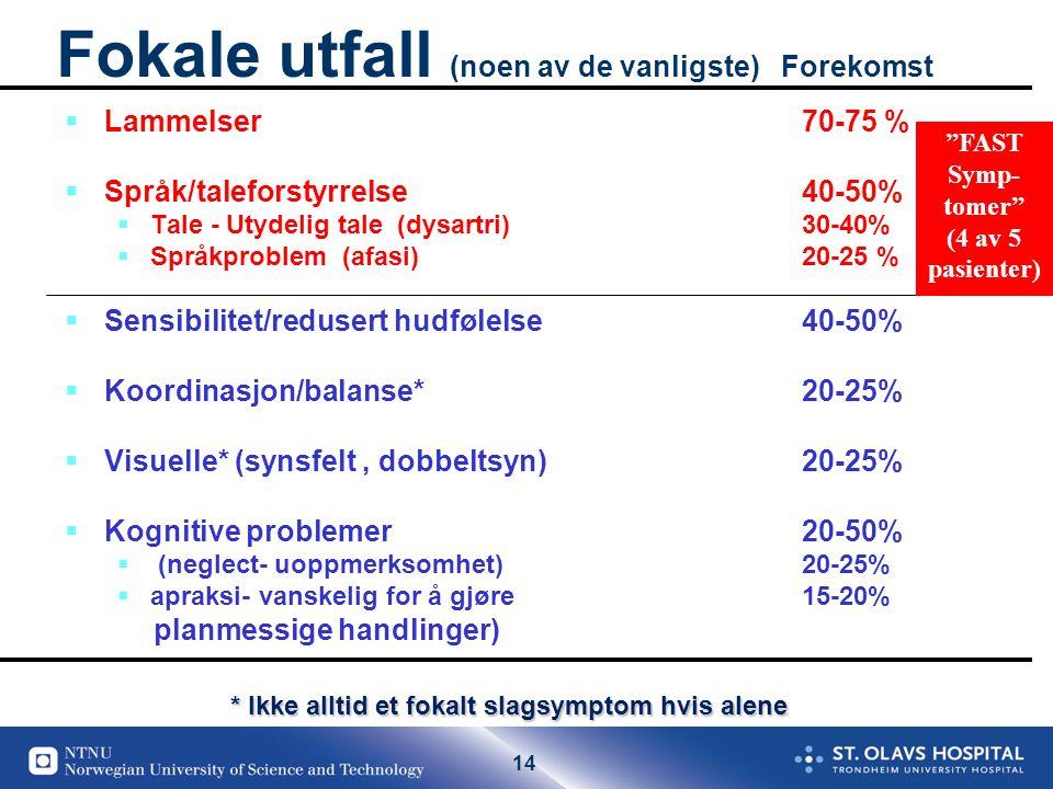 14 Fokale utfall (noen av de vanligste) Forekomst  Lammelser 70-75 %  Språk/taleforstyrrelse 40-50%  Tale - Utydelig tale (dysartri) 30-40%  Språkproblem (afasi) 20-25 %  Sensibilitet/redusert hudfølelse 40-50%  Koordinasjon/balanse* 20-25%  Visuelle* (synsfelt, dobbeltsyn) 20-25%  Kognitive problemer20-50%  (neglect- uoppmerksomhet) 20-25%  apraksi- vanskelig for å gjøre 15-20% planmessige handlinger) * Ikke alltid et fokalt slagsymptom hvis alene FAST Symp- tomer (4 av 5 pasienter) r
