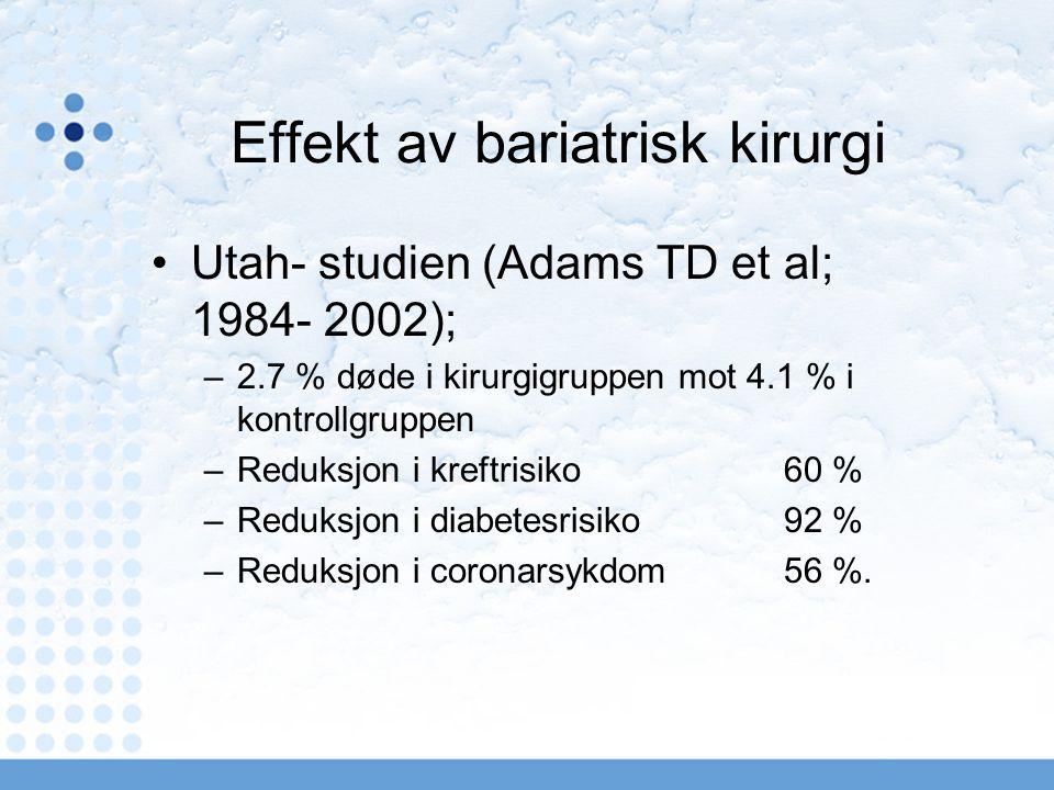 Effekt av bariatrisk kirurgi Utah- studien (Adams TD et al; 1984- 2002); –2.7 % døde i kirurgigruppen mot 4.1 % i kontrollgruppen –Reduksjon i kreftrisiko 60 % –Reduksjon i diabetesrisiko 92 % –Reduksjon i coronarsykdom 56 %.