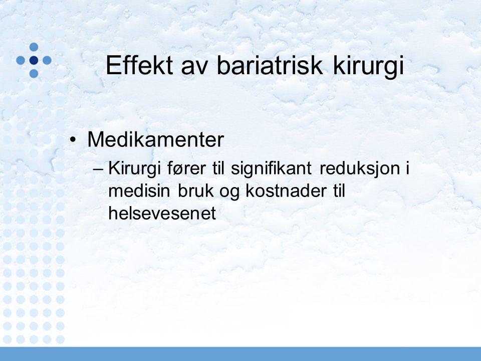 Effekt av bariatrisk kirurgi Medikamenter –Kirurgi fører til signifikant reduksjon i medisin bruk og kostnader til helsevesenet