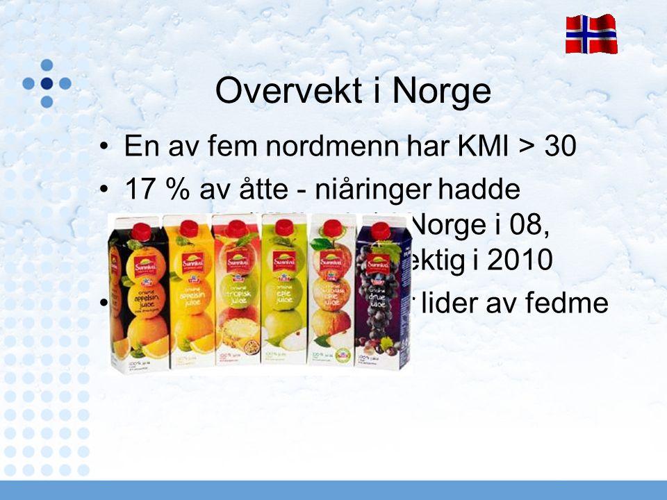 Overvekt i Norge En av fem nordmenn har KMI > 30 17 % av åtte - niåringer hadde overvekt (KMI > 25) i Norge i 08, mens 22 % var overvektig i 2010 5 % av åtte - niåringer lider av fedme