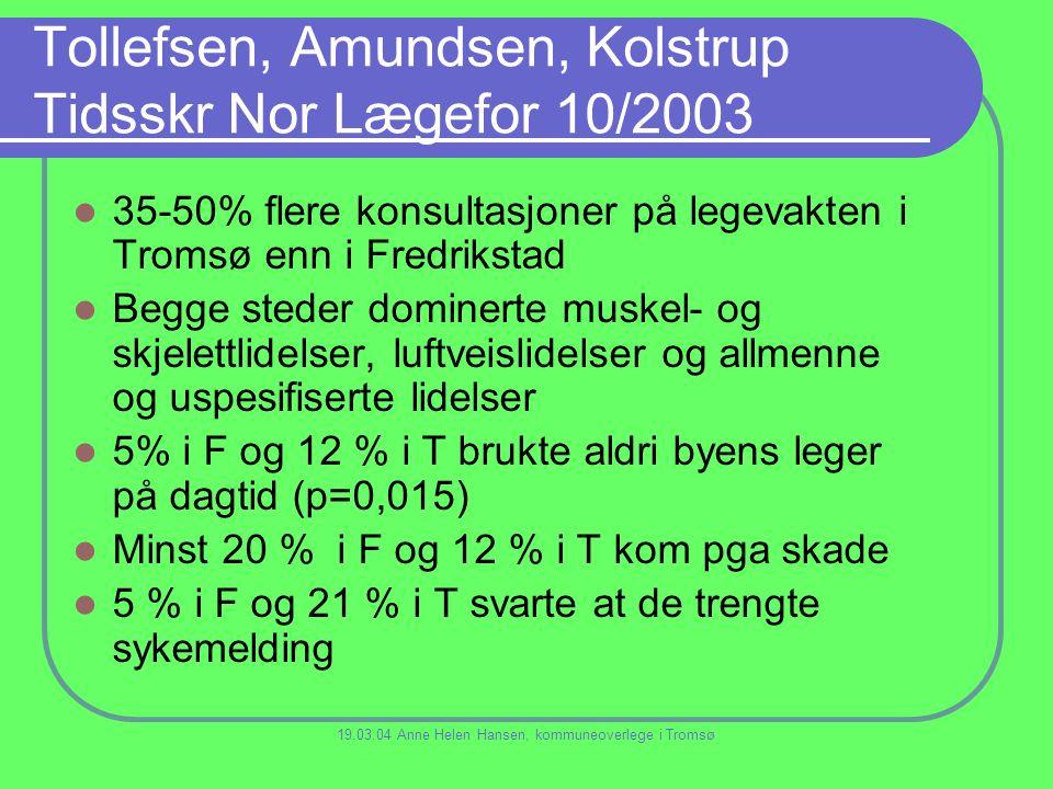 Tollefsen, Amundsen, Kolstrup Tidsskr Nor Lægefor 10/2003 35-50% flere konsultasjoner på legevakten i Tromsø enn i Fredrikstad Begge steder dominerte muskel- og skjelettlidelser, luftveislidelser og allmenne og uspesifiserte lidelser 5% i F og 12 % i T brukte aldri byens leger på dagtid (p=0,015) Minst 20 % i F og 12 % i T kom pga skade 5 % i F og 21 % i T svarte at de trengte sykemelding 19.03.04 Anne Helen Hansen, kommuneoverlege i Tromsø