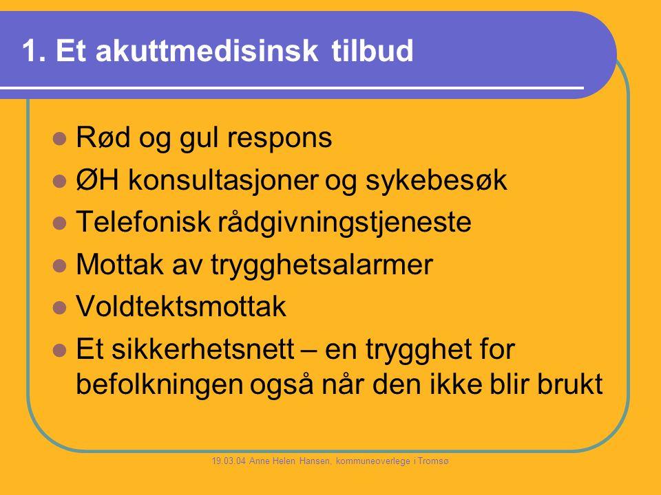 1. Et akuttmedisinsk tilbud Rød og gul respons ØH konsultasjoner og sykebesøk Telefonisk rådgivningstjeneste Mottak av trygghetsalarmer Voldtektsmotta