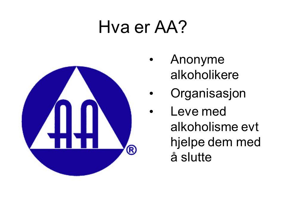 Hva er AA? Anonyme alkoholikere Organisasjon Leve med alkoholisme evt hjelpe dem med å slutte