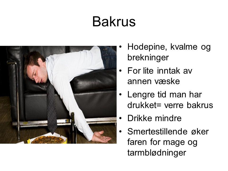 Bakrus Hodepine, kvalme og brekninger For lite inntak av annen væske Lengre tid man har drukket= verre bakrus Drikke mindre Smertestillende øker faren for mage og tarmblødninger