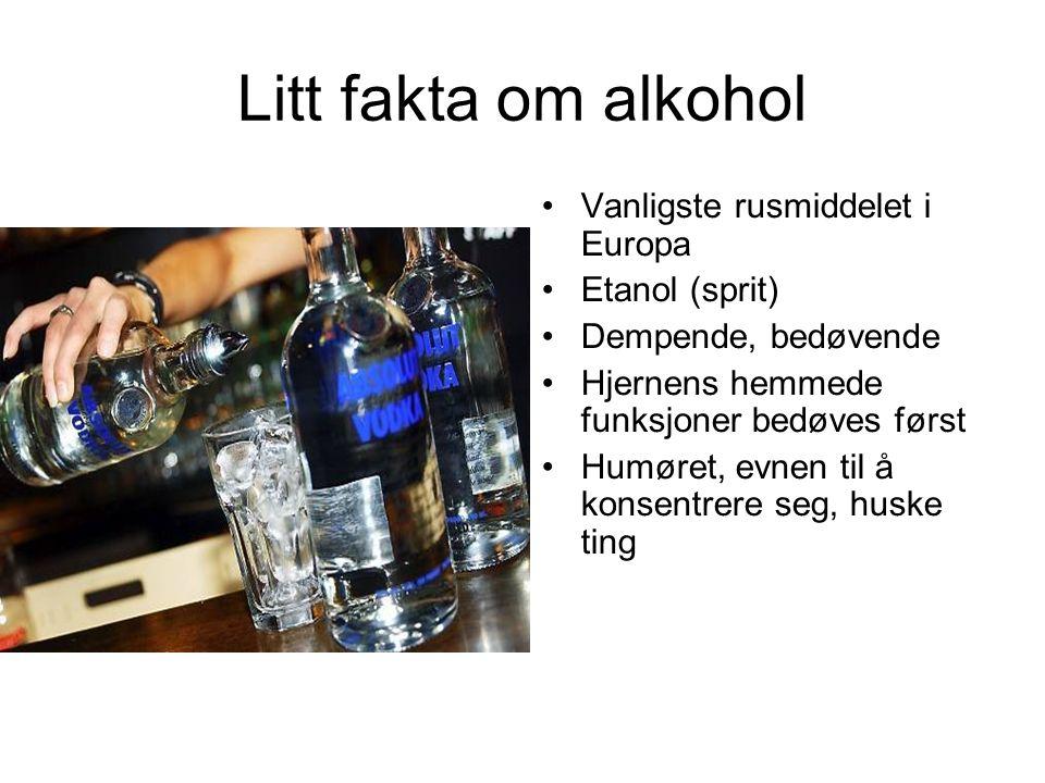 Litt fakta om alkohol Vanligste rusmiddelet i Europa Etanol (sprit) Dempende, bedøvende Hjernens hemmede funksjoner bedøves først Humøret, evnen til å konsentrere seg, huske ting