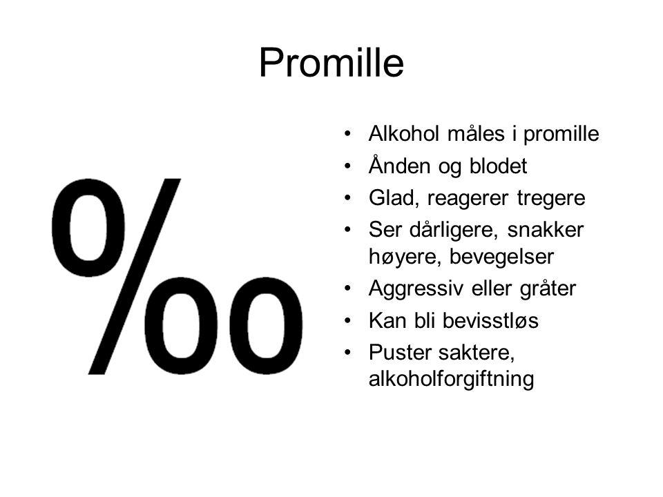 Promille Alkohol måles i promille Ånden og blodet Glad, reagerer tregere Ser dårligere, snakker høyere, bevegelser Aggressiv eller gråter Kan bli bevisstløs Puster saktere, alkoholforgiftning