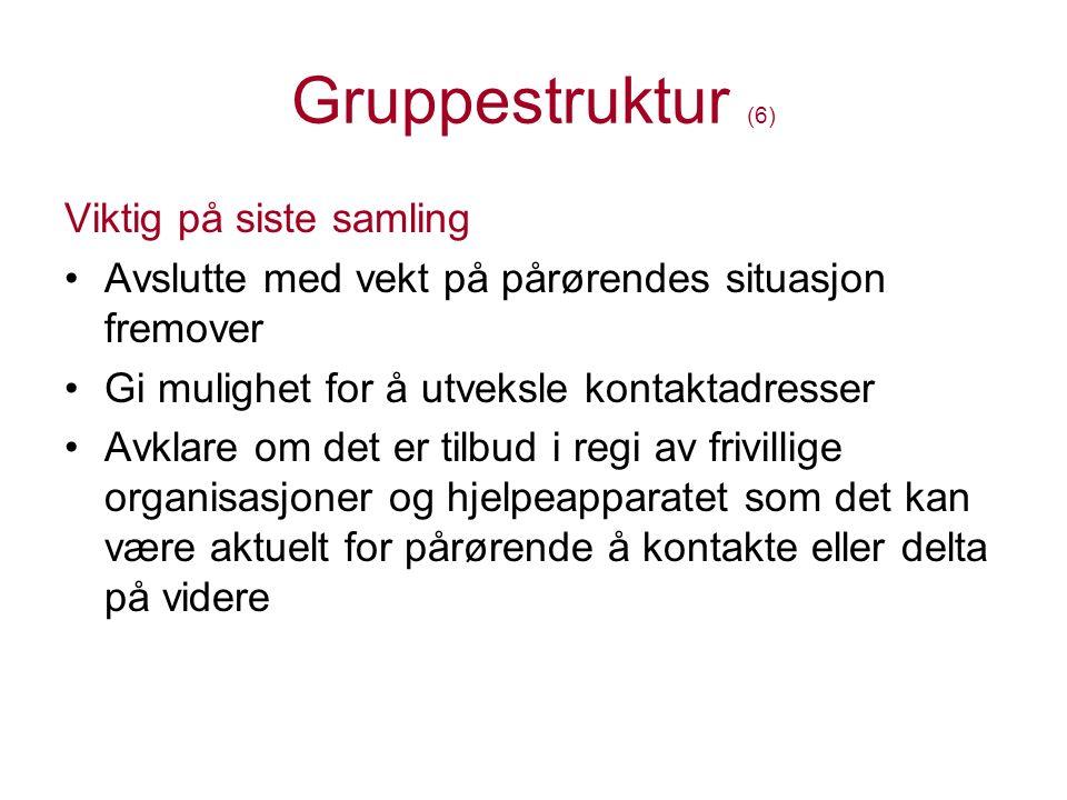 Gruppestruktur (6) Viktig på siste samling Avslutte med vekt på pårørendes situasjon fremover Gi mulighet for å utveksle kontaktadresser Avklare om de