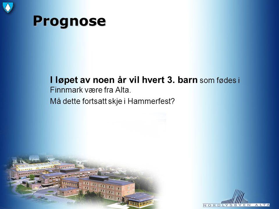 Prognose I løpet av noen år vil hvert 3. barn som fødes i Finnmark være fra Alta.