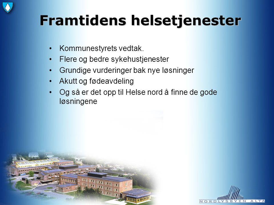 Videre utfordringer Spesialisthelsetjenesten - Helse Finnmark - Hammerfest sykehus (Kirkenes sykehus) - Helse UNN, Tromsø Transport - Ambulansebil - Flyambulanse - Helikopter - Båt/ambulansebåt - Rutetransport