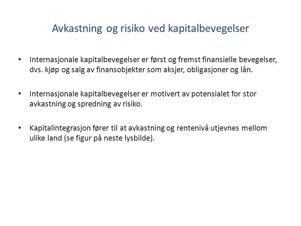 Avkastning og risiko ved kapitalbevegelser Internasjonale kapitalbevegelser er først og fremst finansielle bevegelser, dvs.