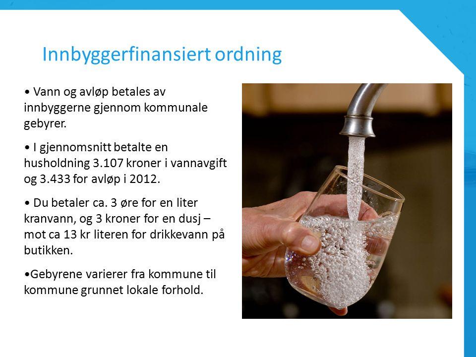 Innbyggerfinansiert ordning Vann og avløp betales av innbyggerne gjennom kommunale gebyrer.