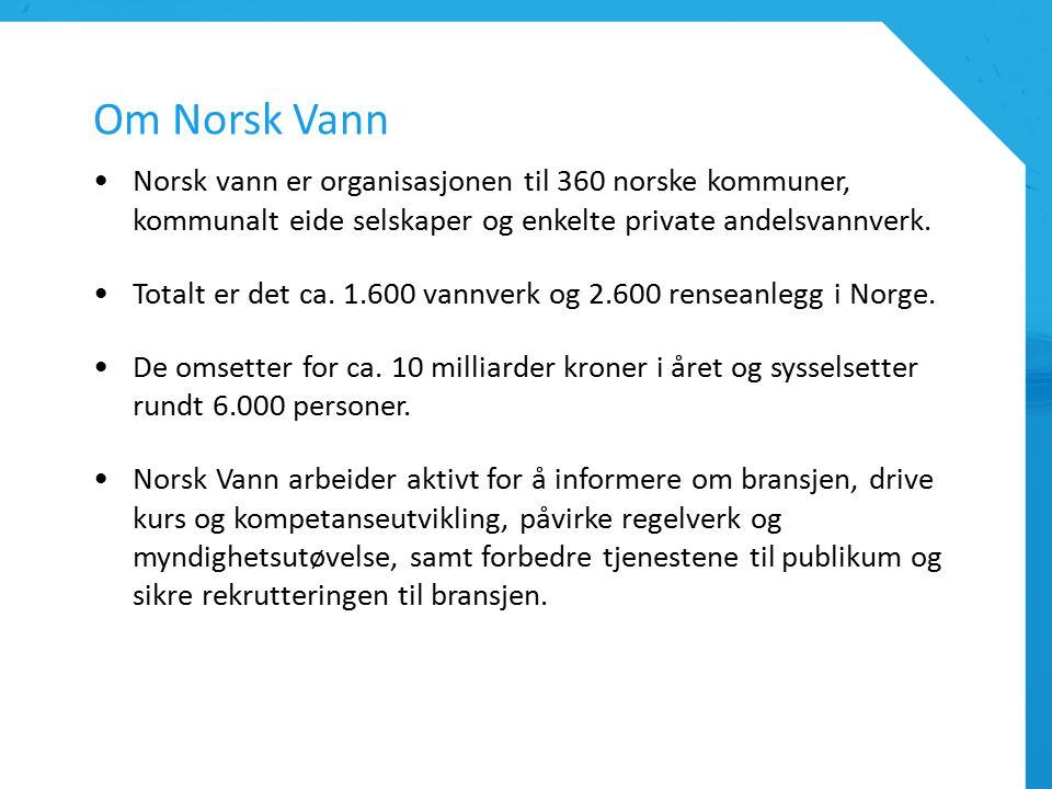 Om Norsk Vann Norsk vann er organisasjonen til 360 norske kommuner, kommunalt eide selskaper og enkelte private andelsvannverk.