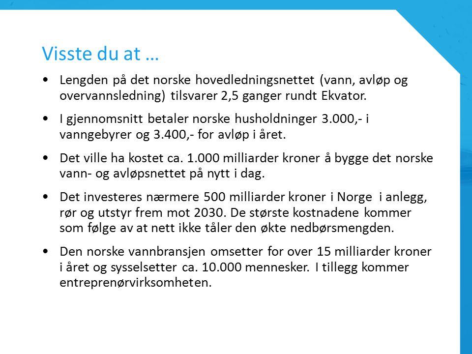 Visste du at … Lengden på det norske hovedledningsnettet (vann, avløp og overvannsledning) tilsvarer 2,5 ganger rundt Ekvator.