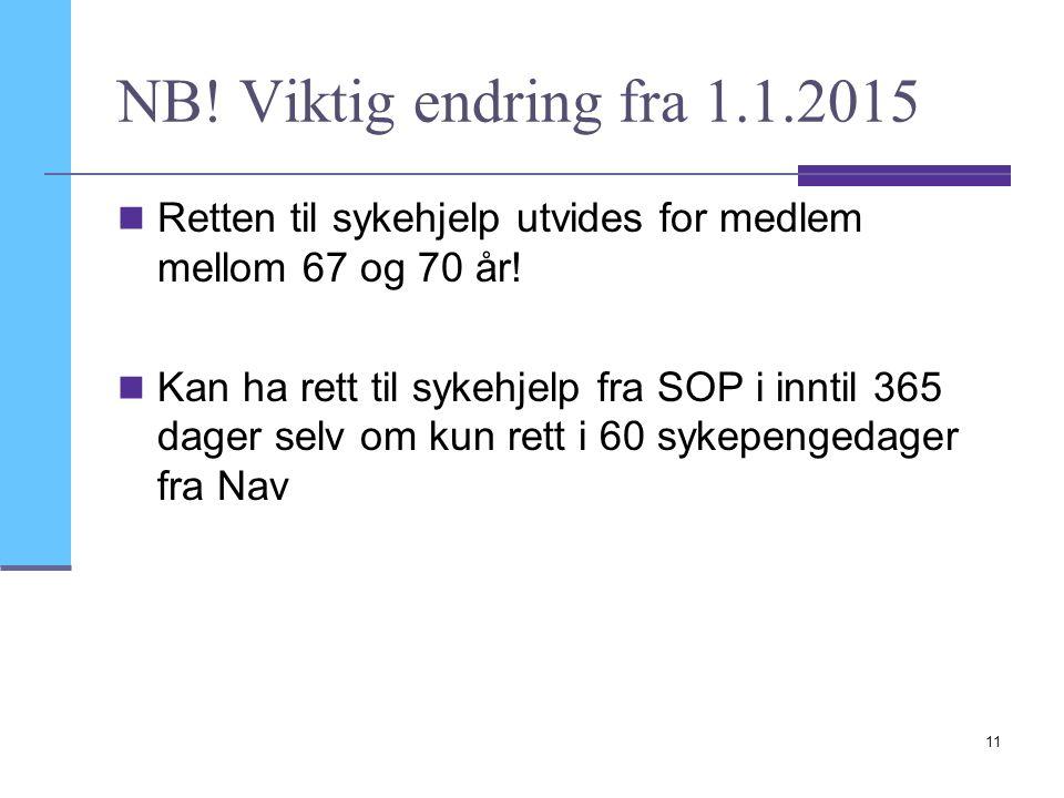 NB. Viktig endring fra 1.1.2015 Retten til sykehjelp utvides for medlem mellom 67 og 70 år.