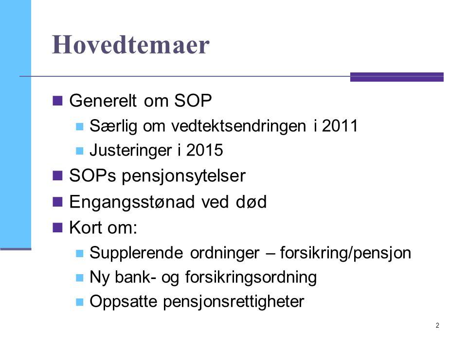 2 Hovedtemaer Generelt om SOP Særlig om vedtektsendringen i 2011 Justeringer i 2015 SOPs pensjonsytelser Engangsstønad ved død Kort om: Supplerende ordninger – forsikring/pensjon Ny bank- og forsikringsordning Oppsatte pensjonsrettigheter