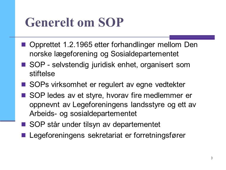 3 Generelt om SOP Opprettet 1.2.1965 etter forhandlinger mellom Den norske lægeforening og Sosialdepartementet SOP - selvstendig juridisk enhet, organisert som stiftelse SOPs virksomhet er regulert av egne vedtekter SOP ledes av et styre, hvorav fire medlemmer er oppnevnt av Legeforeningens landsstyre og ett av Arbeids- og sosialdepartementet SOP står under tilsyn av departementet Legeforeningens sekretariat er forretningsfører