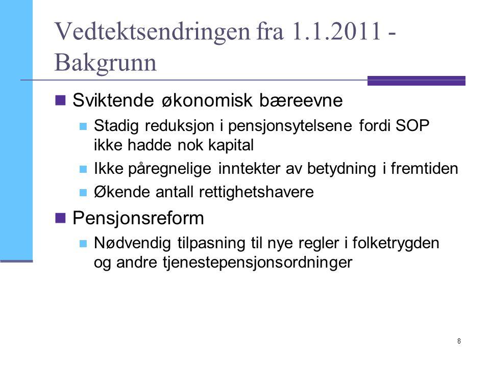 8 Vedtektsendringen fra 1.1.2011 - Bakgrunn Sviktende økonomisk bæreevne Stadig reduksjon i pensjonsytelsene fordi SOP ikke hadde nok kapital Ikke påregnelige inntekter av betydning i fremtiden Økende antall rettighetshavere Pensjonsreform Nødvendig tilpasning til nye regler i folketrygden og andre tjenestepensjonsordninger