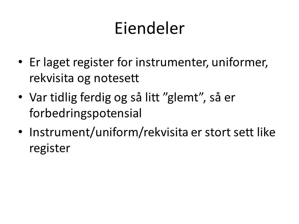 Er laget register for instrumenter, uniformer, rekvisita og notesett Var tidlig ferdig og så litt glemt , så er forbedringspotensial Instrument/uniform/rekvisita er stort sett like register