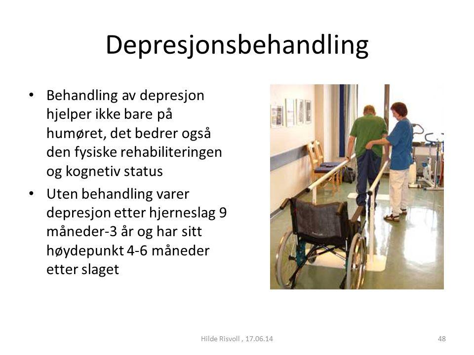 Depresjonsbehandling Behandling av depresjon hjelper ikke bare på humøret, det bedrer også den fysiske rehabiliteringen og kognetiv status Uten behandling varer depresjon etter hjerneslag 9 måneder-3 år og har sitt høydepunkt 4-6 måneder etter slaget 48Hilde Risvoll, 17.06.14