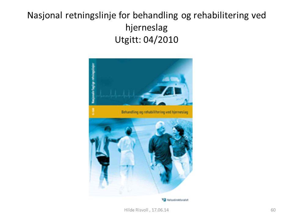 Nasjonal retningslinje for behandling og rehabilitering ved hjerneslag Utgitt: 04/2010 60Hilde Risvoll, 17.06.14