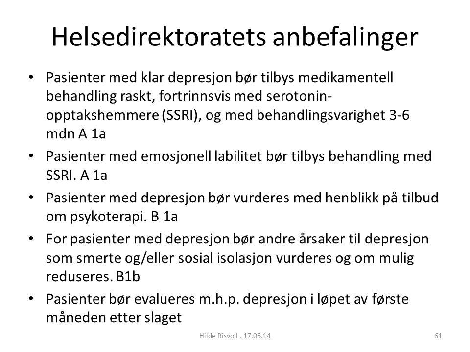 Helsedirektoratets anbefalinger Pasienter med klar depresjon bør tilbys medikamentell behandling raskt, fortrinnsvis med serotonin- opptakshemmere (SSRI), og med behandlingsvarighet 3-6 mdn A 1a Pasienter med emosjonell labilitet bør tilbys behandling med SSRI.