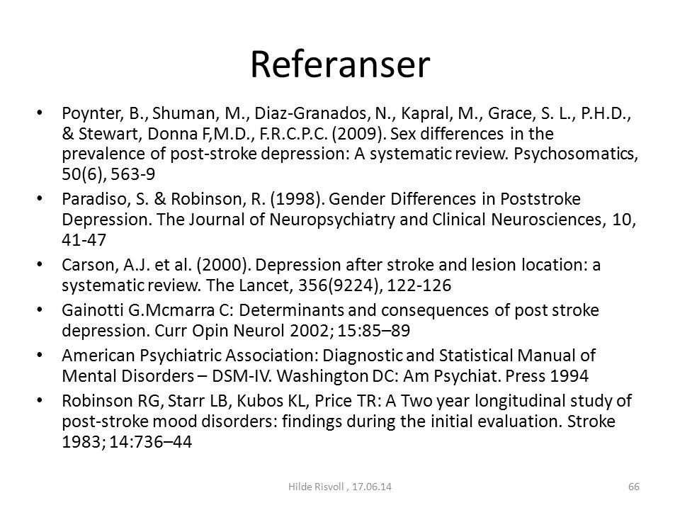 Referanser Poynter, B., Shuman, M., Diaz-Granados, N., Kapral, M., Grace, S.