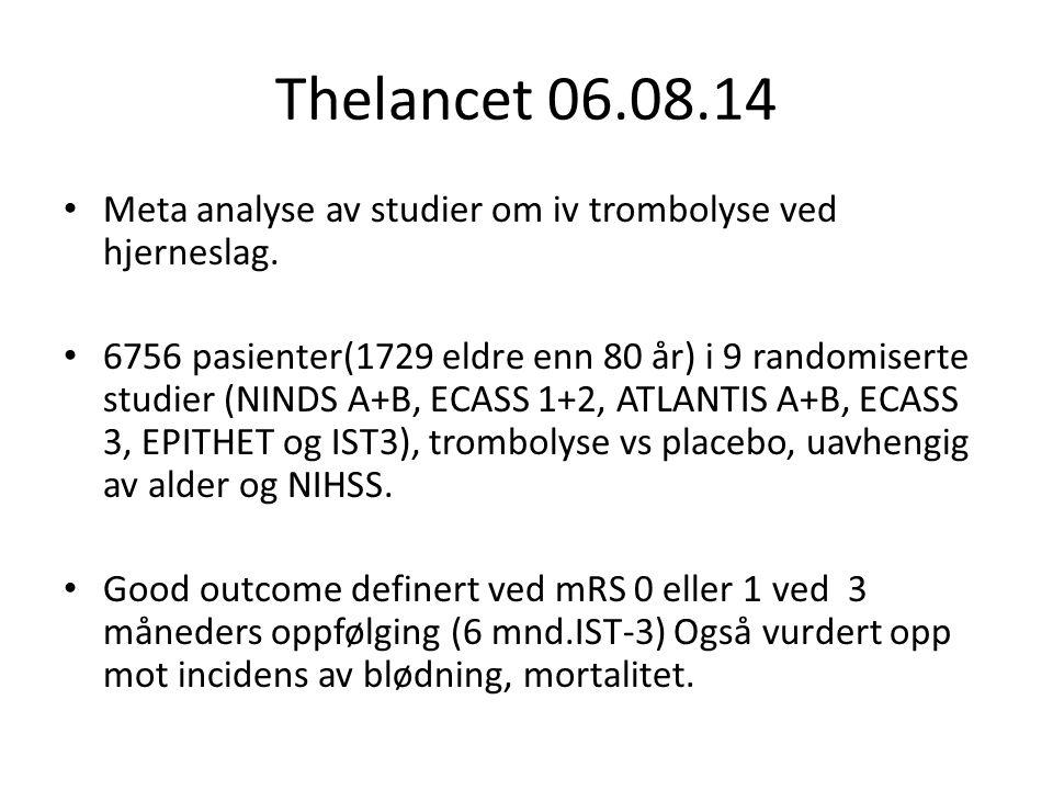 Thelancet 06.08.14 Meta analyse av studier om iv trombolyse ved hjerneslag. 6756 pasienter(1729 eldre enn 80 år) i 9 randomiserte studier (NINDS A+B,
