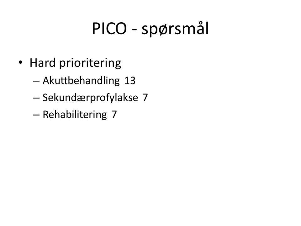 PICO - spørsmål Hard prioritering – Akuttbehandling 13 – Sekundærprofylakse 7 – Rehabilitering 7