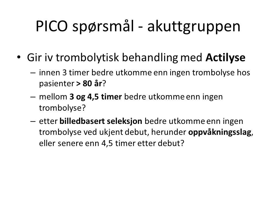 PICO spørsmål - akuttgruppen Gir iv trombolytisk behandling med Actilyse – innen 3 timer bedre utkomme enn ingen trombolyse hos pasienter > 80 år.