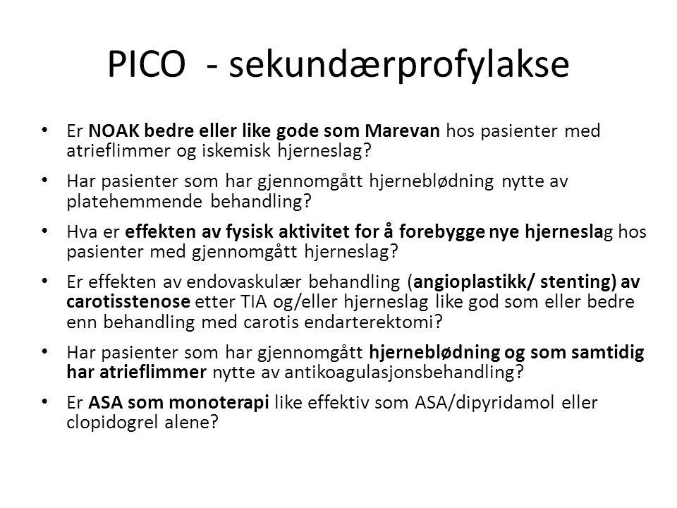 PICO - sekundærprofylakse Er NOAK bedre eller like gode som Marevan hos pasienter med atrieflimmer og iskemisk hjerneslag.