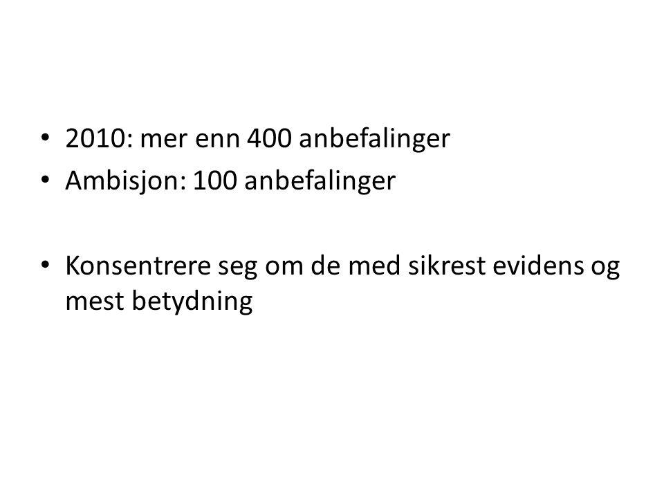 2010: mer enn 400 anbefalinger Ambisjon: 100 anbefalinger Konsentrere seg om de med sikrest evidens og mest betydning