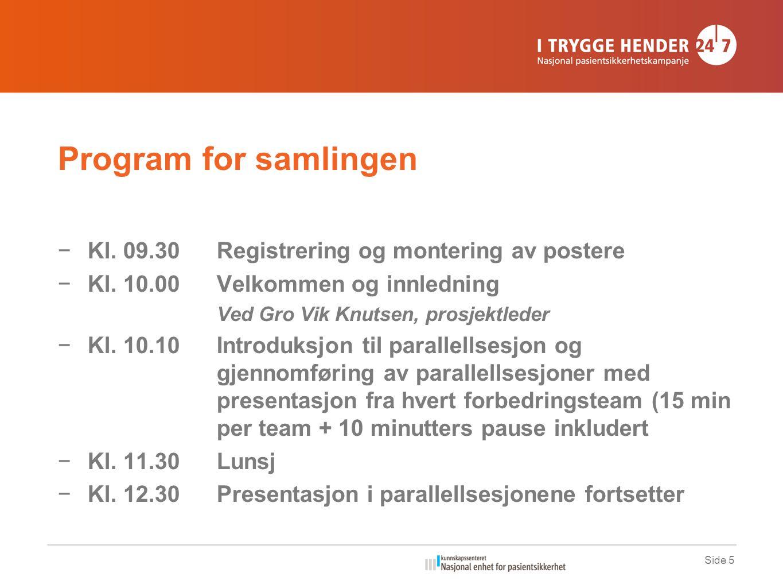 Program for samlingen −Kl. 09.30Registrering og montering av postere −Kl.