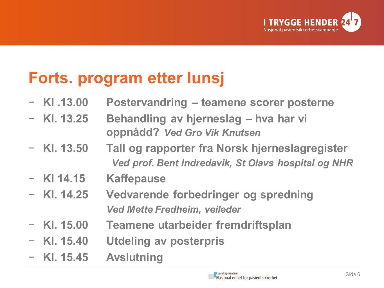 Forts. program etter lunsj −Kl.13.00Postervandring – teamene scorer posterne −Kl.