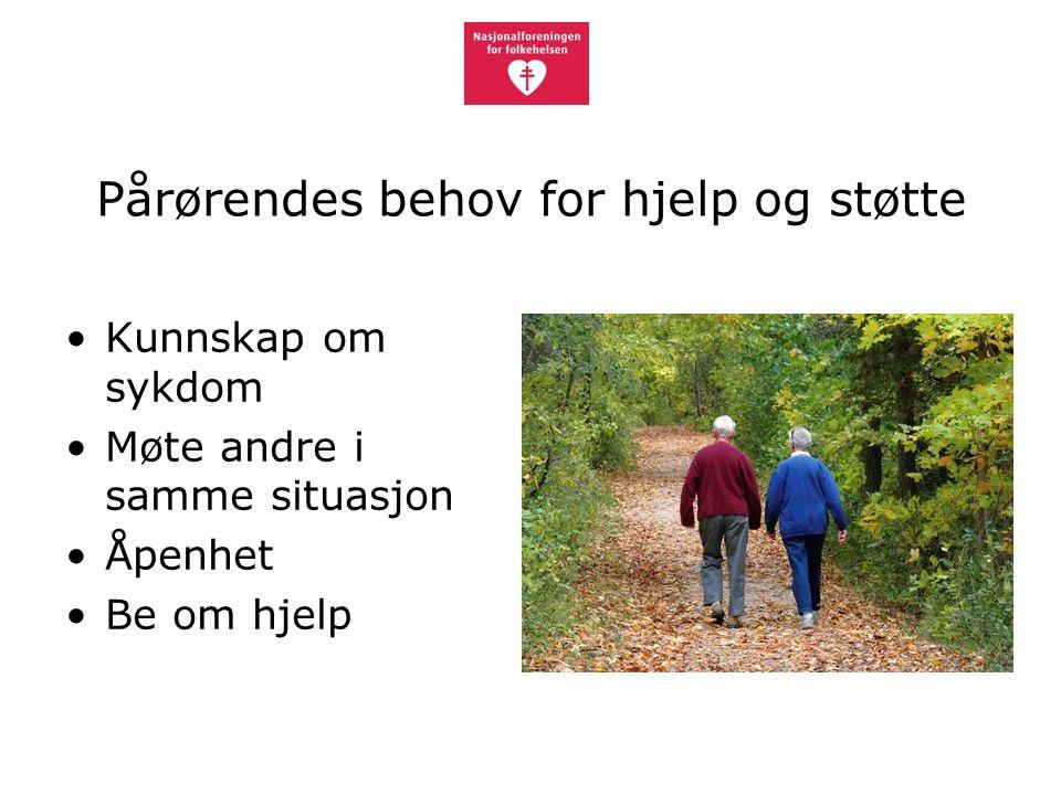 Pårørendes behov for hjelp og støtte Kunnskap om sykdom Møte andre i samme situasjon Åpenhet Be om hjelp